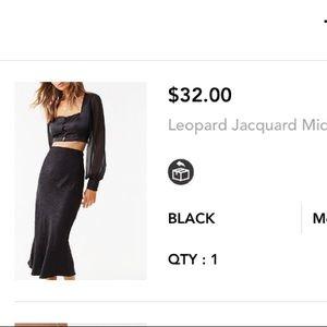 Black leopard print midi skirt